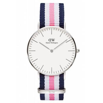 DW Daniel Wellington 藍白粉紅帆布時尚女錶-銀框/36mm(0605DW)