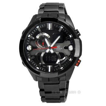 EDIFICE CASIO★贈皮錶帶 / ERA-201BK-1A 粗獷剛毅指針數位雙顯黑鋼男錶 黑色 45mm