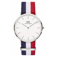 DW Daniel Wellington 藍白紅帆布腕錶~銀框 40mm 0203DW