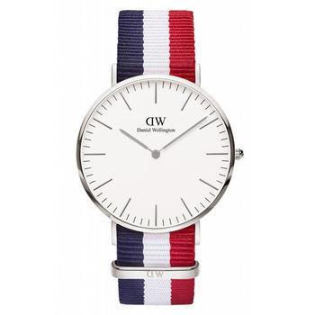 DW Daniel Wellington 經典藍白紅帆布腕錶-銀框/40mm(0203DW)