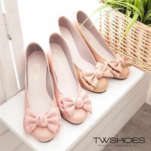 【TW Shoes】優雅氣質厚雪紡蝴蝶結金飾圓頭鞋【K110B0852】