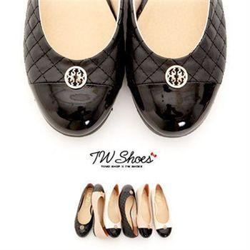 【TW Shoes】撞色拼接菱格紋平底豆豆鞋【K120A1622】