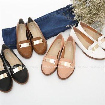 【TW Shoes】樂福鞋/英倫風金屬綴飾低跟紳士鞋(K130B2087)