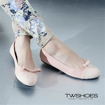 【TW Shoes】蕾絲拼接蝴蝶結包鞋【K130A2435】