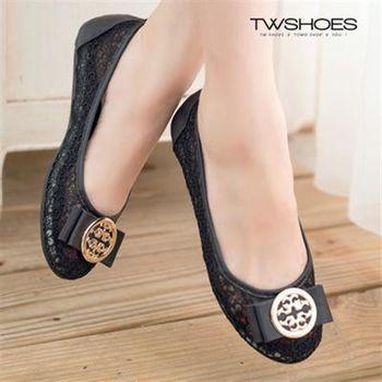 【TW Shoes】金屬綴飾蝴蝶結鏤空平底鞋【K120A2534】