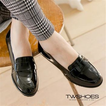 【TW Shoes】金屬感亮皮低跟紳士鞋【K130B2698】