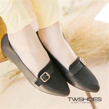 【TW Shoes】金屬感扣環尖頭低跟鞋【K130B2716】