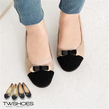 【TW Shoes】復古雙色金屬拼接蝴蝶結娃娃鞋【K120A2776】