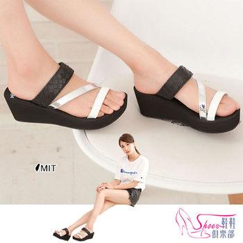 【Shoes Club】【029-6379】拖鞋.台灣製MIT 時尚個性三帶混搭風楔型厚底拖鞋.黑色