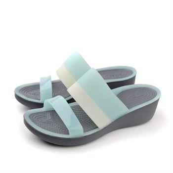 Crocs 拖鞋 水藍 女鞋 no361