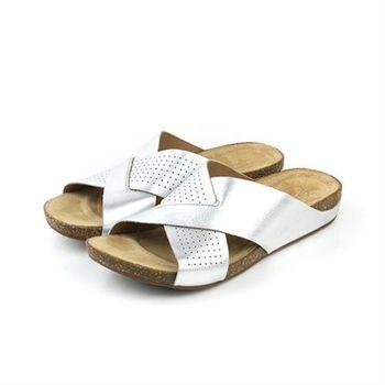 Clarks Perri Cove 拖鞋 銀色 女鞋 no738
