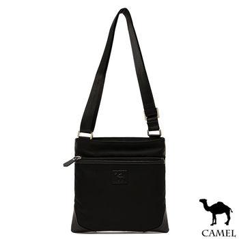 CAMEL - 倫敦品味十字紋防潑水牛皮薄型小方側背包-共2色