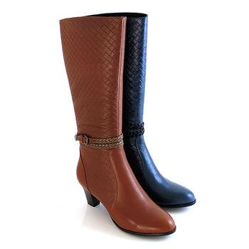 【GREEN PHOENIX】牛皮編織壓紋繞踝皮扣全真皮高跟馬靴-棕色、藍色