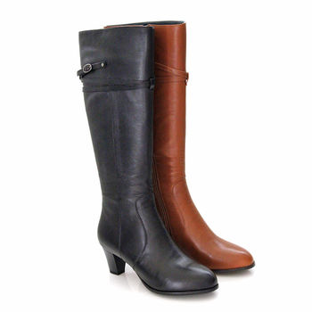 【GREEN PHOENIX】全真皮優美可人層次繞帶金屬飾扣低跟馬靴-黑色、棕色