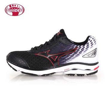 【MIZUNO】WAVE RIDER 19 男慢跑鞋-2E- 寬楦 美津濃 黑白紅