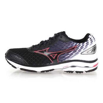 【MIZUNO】女慢跑鞋 WAVE RIDER 19- 路跑 慢跑 美津濃 黑白桃紅