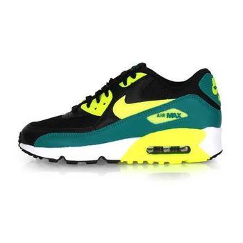 【NIKE】AIR MAX 90 MESH -GS 女運動休閒鞋 - 慢跑 黑綠黃