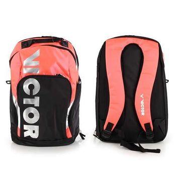 【VICTOR】後背包 -羽球包 雙肩包 登山 旅行包 勝利 黑粉橘
