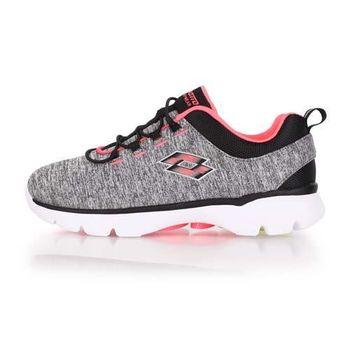 【LOTTO】女健體步行跑鞋 -慢跑 健身 灰粉橘
