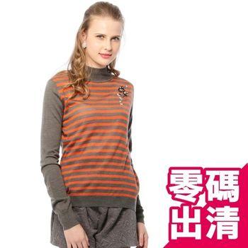 KIINO  前珠飾條紋領結針織羊毛衫
