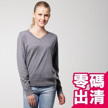 【KIINO】保暖基本款V領針織毛衣衫(灰3822-1076)