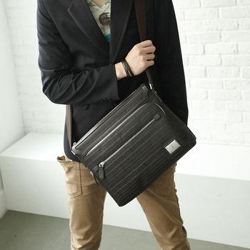 【Valentino Coupeau】簡約真皮緹花側背包-深咖啡