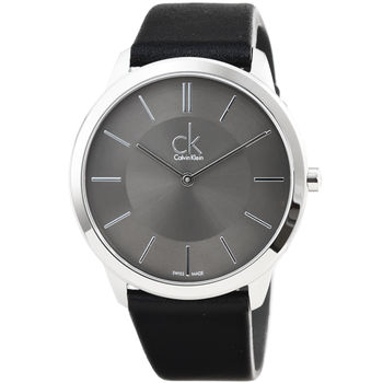 CK Calvin Klein Minimal 凱文克萊時尚皮帶男錶-深灰 # K3M211C4