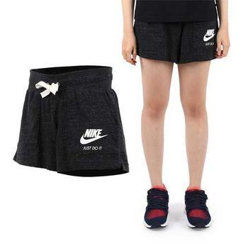 【NIKE】女針織短褲 -慢跑 路跑 深灰白