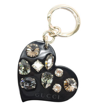 GUCCI 心型施華洛世奇水晶鑰匙圈吊飾(黑)