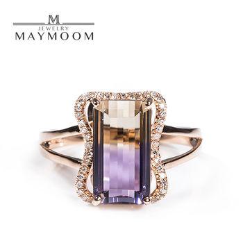 MAYMOON 晶彩 天然5克拉紫黃晶鑽戒18K
