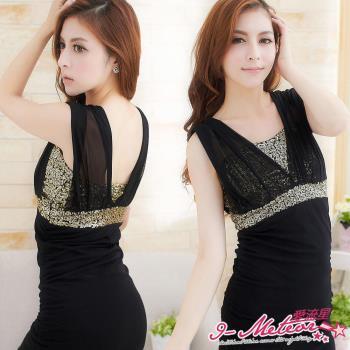 【lingling】亮片深V有罩式接紗洋裝(時尚黑)A1666-03