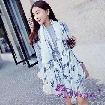 【Decoy】率性白燕*歐美加大輕柔圍巾/白