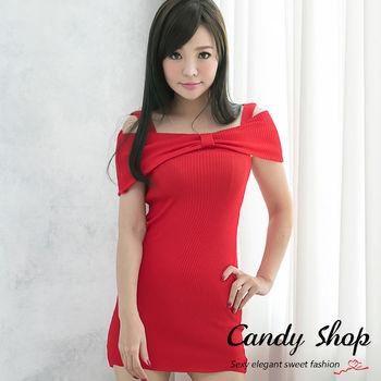 Candy 小鋪     蝴蝶結針織細肩帶包臀洋裝(黑/紅/條紋)-0097843