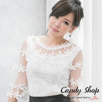 Candy 小鋪   透膚花蕾絲七分袖上衣(白色/黑色)-0097813