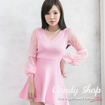 Candy 小鋪     氣質勾花縷空蕾絲V領針織小洋裝(黑色/紫色/粉色)三色-0097399