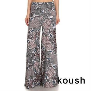 【Kuosh】美國進口優雅古典圖騰寬版長褲(NW-6050)