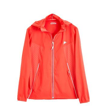 KAPPA義大利時尚女平織慢跑風衣(可拆帽 )-新杮橘