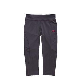 KAPPA義大利 舒適尚女針織慢跑九分緊身褲(合身尺寸)1件 黑亮莓紫FB52-Y003-7