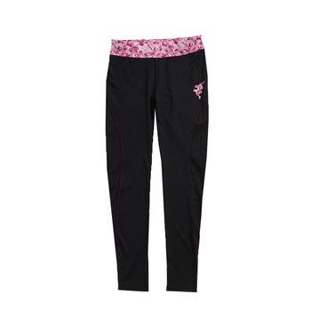 KAPPA義大利 舒適尚女針織慢跑九分緊身褲(合身尺寸)1件 黑亮莓紫FD52-Y001-8
