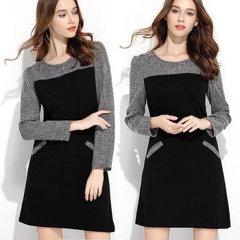 【麗質達人中大碼】黑灰拼色假二件式洋裝(XL-5XL)