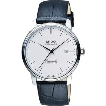 MIDO Baroncelli III Heritage 復刻經典機械腕錶-白/41mm M0274071601000