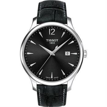 TISSOT Tradition 經典大三針石英腕錶-灰/42mm T0636101608700