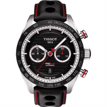 TISSOT PRS516 系列計時機械腕錶-黑/45mm T1004271605100