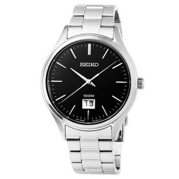 SEIKO精工紳士時尚大錶徑石英錶-黑 / SUR023P1