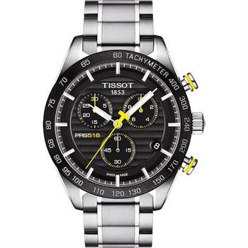 TISSOT PRS516 三眼計時腕錶-黑/42mm T1004171105100
