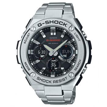 【CASIO 卡西歐】G-SHOCK 絕對強悍不鏽鋼時尚腕錶(52.4mm/GST-S110D-1A)