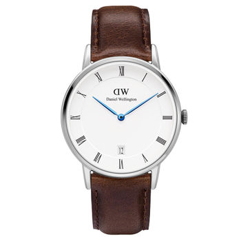 DW Daniel Wellington Dapper時尚棕色皮革腕錶-銀框/34mm(1143DW)