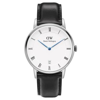 DW Daniel Wellington Dapper時尚黑色皮革腕錶-銀框/34mm(1141DW)