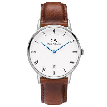 DW Daniel Wellington Dapper時尚棕色皮革腕錶-銀框/34mm(1140DW)