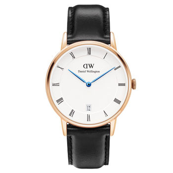 DW Daniel Wellington Dapper時尚黑色皮革腕錶-金框/34mm(1131DW)